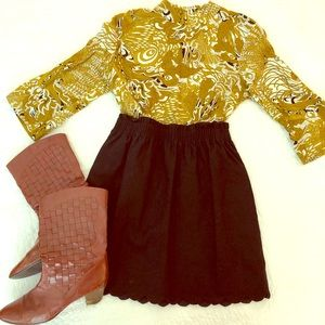 Paisley Mustard and Black Viscose Blouse